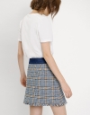 Front Button Tweed Mini Skirt