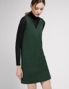 V-Neck Knit Shift Dress With Self-Tie Back