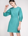 Sleeved Sheath Dress With Button Back