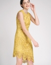 Guipure Lace Dress With Asymmetric Hem