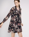 Printed Shift Dress With Self-Tie Neck