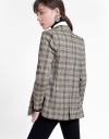Checked Coat With Ruched Pocket