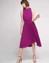 Elasticated Midi Dress With Pleated Skirt
