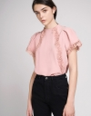 Lace-Trimmed Top With Puff Sleeves