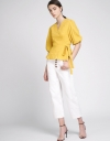 Ribbed Wrap Top With Flouncy Hem