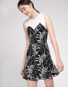 Color Block Lace Dress With Knit Neck