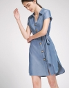 Belted Shirt Dress With Button Front