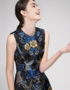 Sequined Jacquard Floral Dress