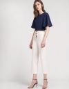 Color Block Blouse With Bell Sleeves