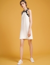 Shift Dress With Contrast Beaded Halter Neck