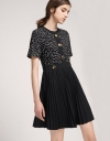 Dotted Dress With Pleated Skirt
