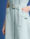 Belted A-Line Dress With Pocket Front
