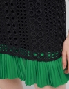 Color Block Lace Dress With Pleated Hem