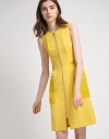 Color Block Shift Dress With Zipper Front