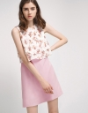 Sleeveless Shift Dress With Floral Layer