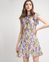 Pussy-Bow Floral Dress