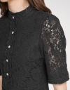 Sleeved Button-Embellished Lace Dress