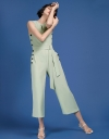 Tied Wide-Leg Jumpsuit With Button Detail