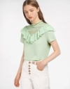Lace-Trimmed Ruffled Blouse