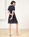 A-Line Dress With Lace-Trimmed Hem
