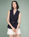 Sleeveless Blouse With Belt