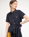 Sleeved Shirt Dress With Pockets