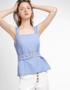 Strappy Ribbed Top With Belt