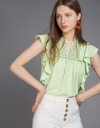 Lace-Trimmed Top With Ruffles