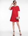 Sleeved Shift Dress With Pleated Hem