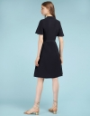 Sleeved Belted Dress With Collar
