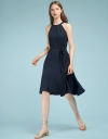 Belted Ribbed Dress With Halter Neck