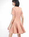 Sleeved Ribbed Dress With Flouncy Hem