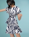 Printed Layered Dress With Belt