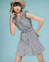 Striped Belted Dress With Ruffles