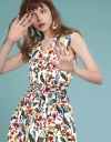 Belted Floral Dress With Gathered Hem