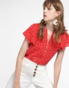 Printed Top With Gathered Detail