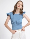 Ribbed Tank Top With Ruffled Detail