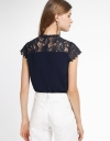 Sleeved Lace-Trimmed Top