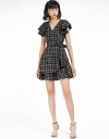 Checked Belted Dress With Layered Hem