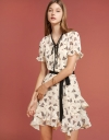 Belted Printed Dress With Tied Neck