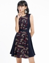 Multicolored Printed Dress With Belt