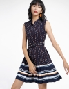 Color Block Dotted Dress With Pleated Hem