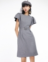 Houndstooth Belted Dress With Pleated Detail
