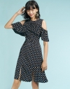 Polka Dotted Dress With Pleated Detail