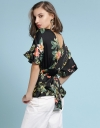 Floral Tied Top With V-Neck Back