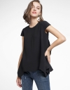Capped Sleeved Top With Asymmetric Hem