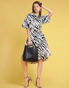 Abstract Printed Midi Dress With Belt