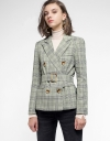 Wrapped Houndstooth Jacket With Belt
