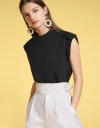 Capped Sleeved Blouse With Button Detail