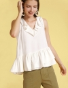 Sleeveless Blouse With Ruffled Layers